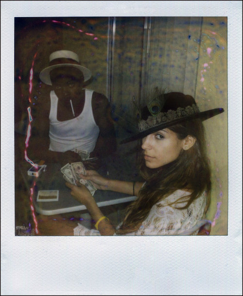 """You best be coming up with my cash""…. shot on Polaroid 600 film. Victoria Mordoch and Julian Ashley Mitchell aka W Puscie Jones."
