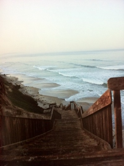 clubmonaco:   Beach Stairs  You know it's a good beach when there's a long, steep staircase to the bottom.