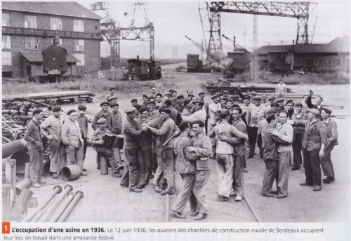 On the 12th of June 1936, workers of the naval construction site are occupying their working place in a festive ambiance @credits  The Matignon Agreements (French: Accords de Matignon) were signed on June 7, 1936, at one o'clock in the morning, between the CGPF employers trade union confederation, the CGT trade union and the French state. They were signed during a massively followed general strike initiated after the election of the Popular Front in May 1936, which had led to the creation of a left-wing government headed by Léon Blum (SFIO). These agreements were signed at the Hôtel Matignon, official residence of the head of the government, hence their name. All of the workers benefited with these agreements of: the legal right to strike the removal of all obstacles to union organization (including the right to have representatives, named délégués du personnel, elected by secret ballot, which may not be fired without approval from the labour inspection - inspection du travail - and thus are protected from pressures by the employers and a blanket 7-12 percent wage increase for all workers (it is thus the reverse of deflation, and is an economic policy based on demand) (the female workers in Verdun even succeeded in obtaining a 400% wages increase) Furthermore, Blum's government deposed on June 5 five law projects, prepared by the Minister of Labour Jean-Baptiste Lebas, which were easily adopted during the month. These laws granted: paid vacations (two weeks - for the first time in France) (voted by the National Assembly on 20 June 1936) 40 hour work week paid 48 (adopted by the Assembly on 21 June 1936). collective bargaining (adopted by the Assembly on 24 June 1936) the repeal of the 1935 decree-laws concerning the wages of public servants and the taxes on World War I veterans' pensions.