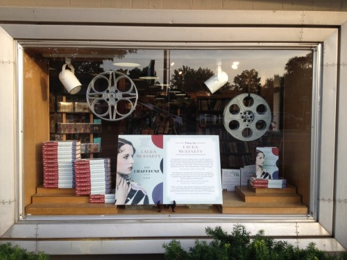Here's one more! Watermark's amazing front-window display for THE CHAPERONE. Love the vintage film reels!