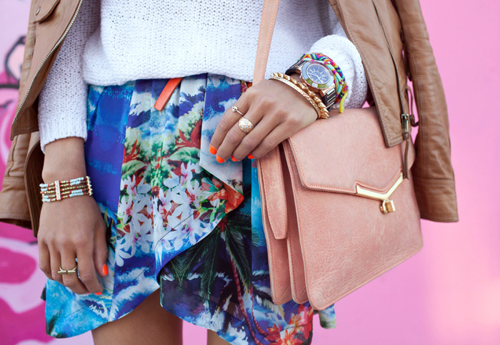 modcloth:  Neon nails and a tropical print skirt might just be the perfect pairing. via Song of Style.