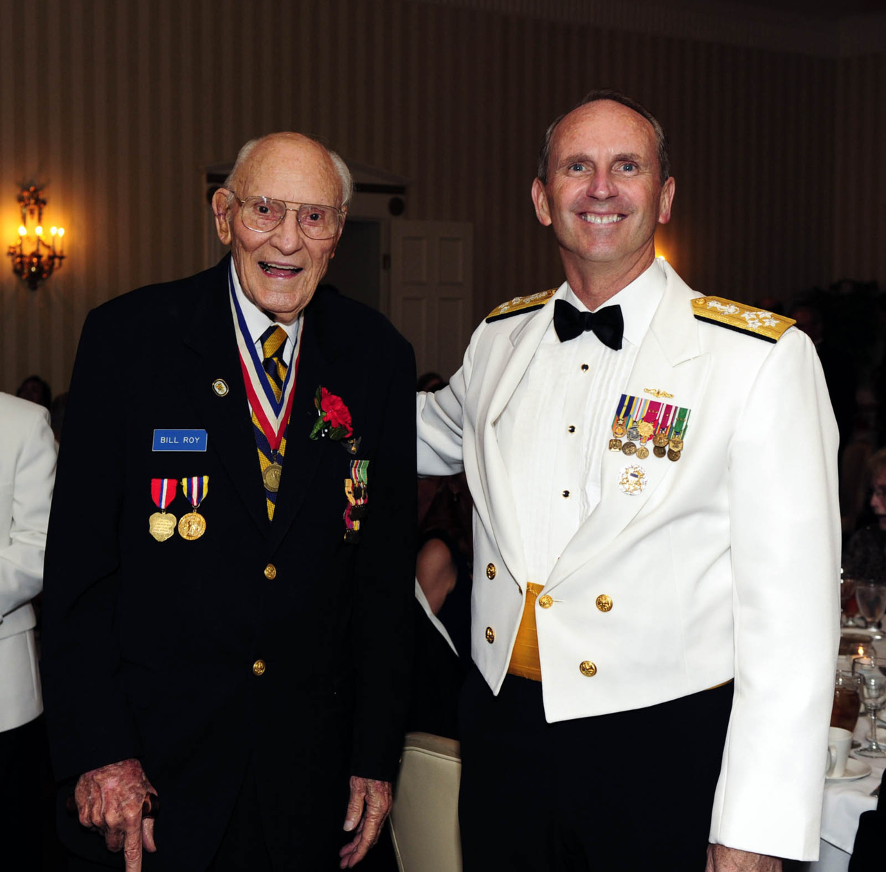 CNO and Symonds Talks Highlight 2012 Midway Commemoration Dinner Event This past weekend at the Army Navy Country Club in Arlington, Virginia, some 200 guests gathered to salute seven veterans in attendance, and the memories of  thousands more, who fought in one of the greatest battles in naval history – the Battle of Midway. (read the full story here)Above photo: Chief of Naval Operations Admiral Jonathan Greenert poses for a photo with Battle of Midway veteran William Roy. See our earlier post with Roy's firsthand account of the sinking of USS Yorktown here. (U.S. Navy photo 120603-N-WL435-017 by Mass Communication Specialist 1st Class Peter D. Lawlor/Released).