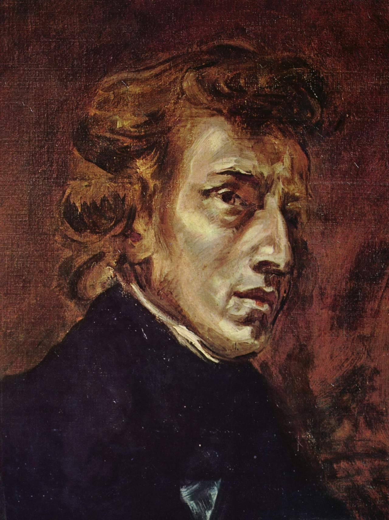 malebeautyinart:  Portrait of Frédéric ChopinEugène Delacroix (1798-1863) 1838 oil on canvas; originally part of a larger painting showing both Chopin and Georges Sand The Louvre Museum