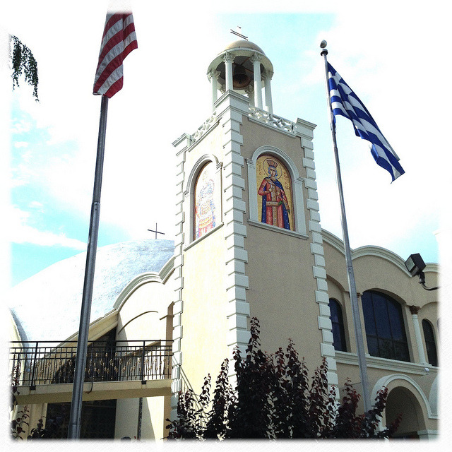 greek church. astoria. on Flickr.Astoria is home to the largest Greek population outside of Athens, and even though a lot of other ethnic groups have moved into the area (in addition to being a haven for young professionals), the neighborhood still has a very distinct Greek flavor to it. This is one of the many Greek Orthodox churches scattered across the neighborhood.