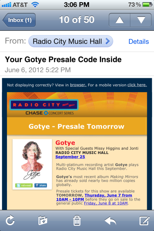 Oh perfect! Cause I like Gotye right?… I don't.