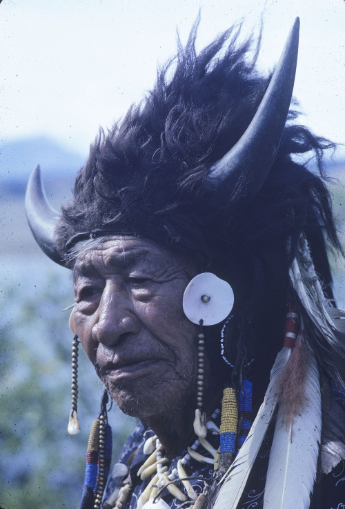 """Portrait of Walking Buffalo (George MacLean), a ninety-two year old Stony [sic] Aboriginal from Morley, Alberta,"" 1962."