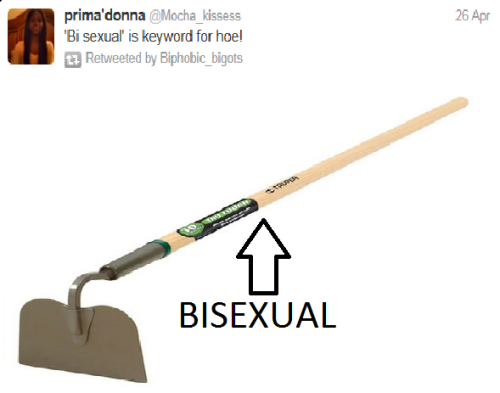 This is my newest gardening tool. It's a bisexual! I know what you're thinking: it looks like a gardening hoe. Well it is! Apparently they're the same thing.