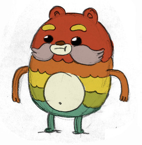 bravestwarriors:  Impossibear Rough Design By Bob Flynn. We're still casting this guy. Redd Foxxish, maybe?  This is an early design I did with Breehn Burns for Bravest Warriors: a little dude named Impossibear.