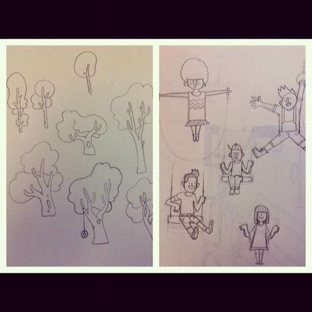 Some Sketches for the illustrations I'm doing at work (Taken with instagram)