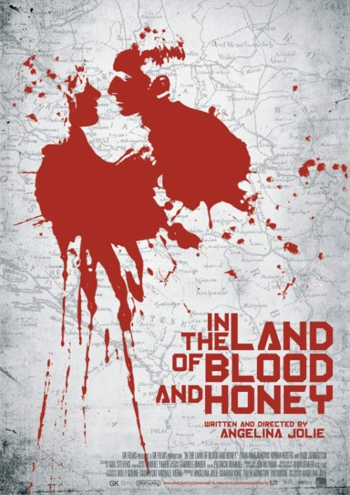 The poster of In The Land of Blood and Honey,  the movie directed by Angelina Jolie was designed by Robert Russell.