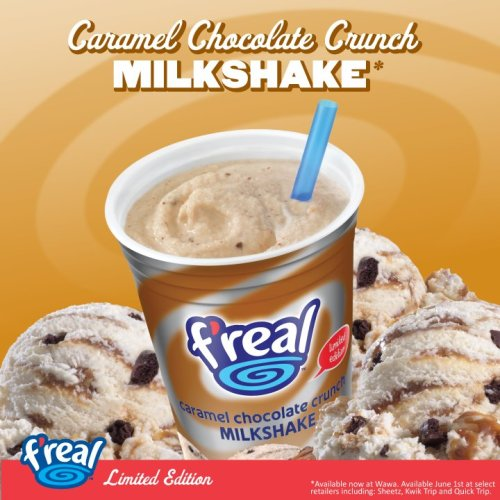 here's our new new caramel chocolate crunch limited edition flavor milkshake. would ya like one?