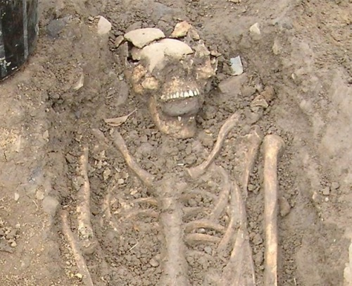 "'Vampire' Skeletons Found in Bulgaria Two medieval ""vampire"" skeletons emerged near a monastery in the Bulgarian Black Sea town of Sozopol, local archaeologists announced. Dating back 800 years to the Middle Ages, the skeletons were unearthed with iron rods pierced through their chests — evidence of an exorcism against a vampire. The ritual was aimed at preventing potentially dangerous people, such as enemies, murderers, or individuals who died suddenly from a strange illness, from turning into vampires after death. keep reading Photo: An 8th-century skeleton found in Ireland with a large stone shoved in its mouth. Credit: Chris Read."