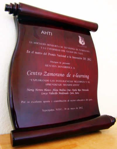 Honorable Mention for the Center for Zamorano E-Learning under the National Award for ICT Innovation 2012