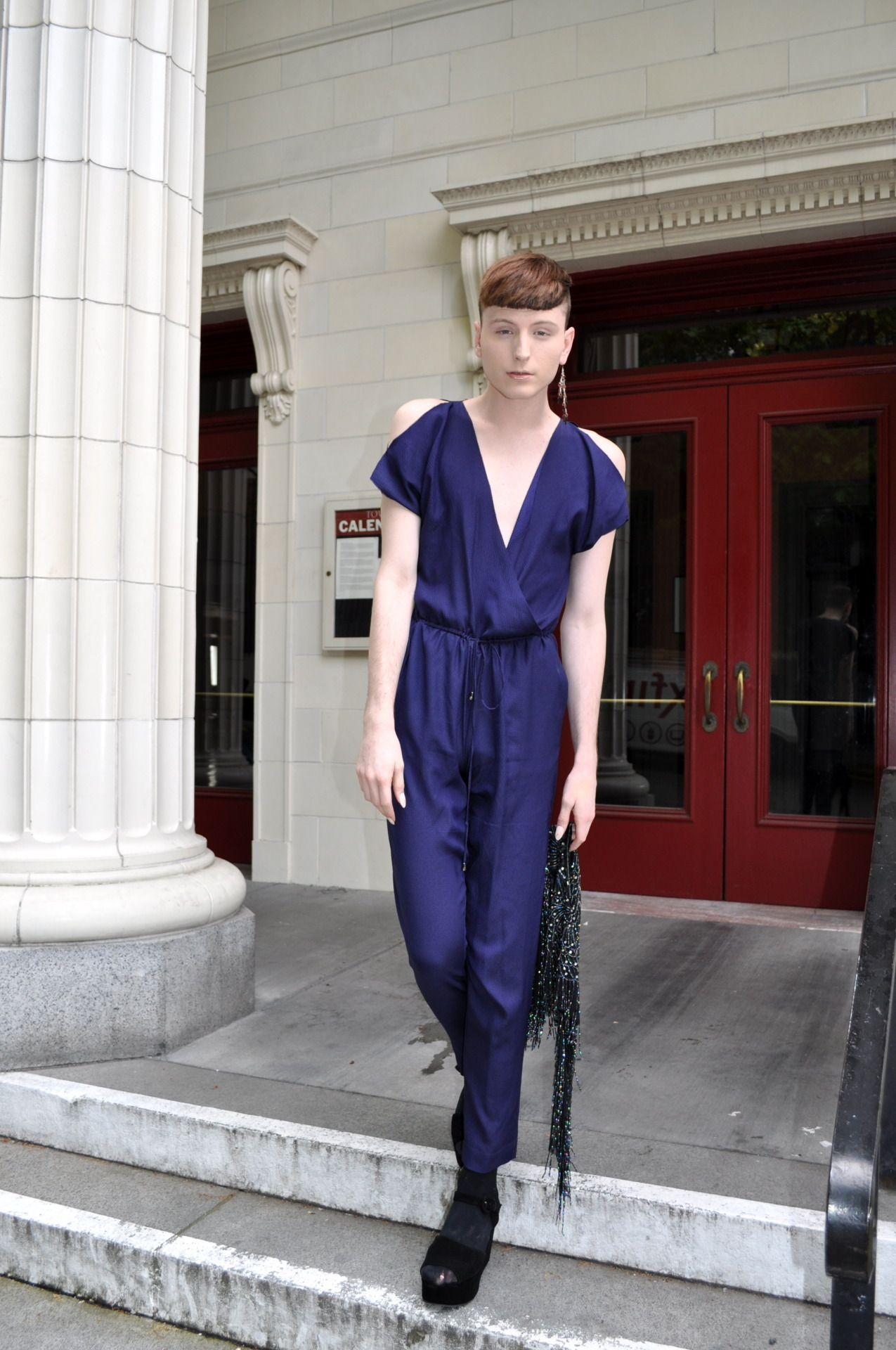 (rachel roy jumpsuit, kimichi & blue platform suede sandals, vintage beaded cape worn backwards, vintage earring, marc jacobs clutch)