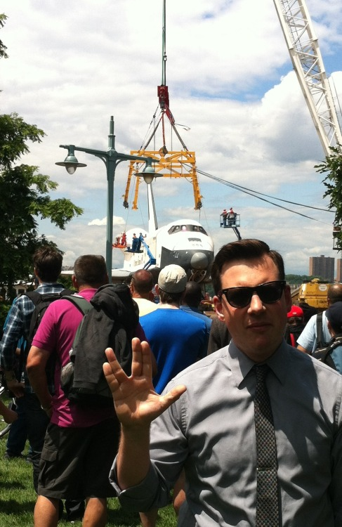 Space Shuttle Enterprise and one nerd.