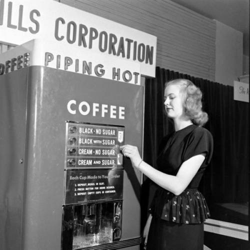Coffee vending machine, 1940s