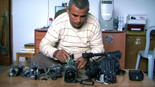 Five Broken Cameras Self taught cameraman Emad Burnat puts more than his equipment's safety on the line in his award winning documentary Five Broken Cameras. Five Broken Cameras trailer can be watched here: http://news.thefreestylelife.com/index.php/5-broken-cameras-trailer