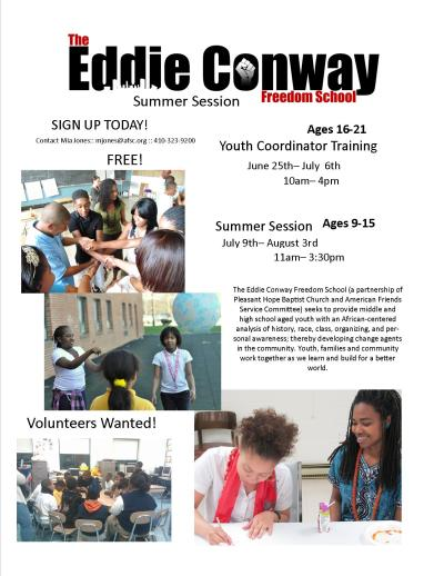 bmorefree:  Now Accepting Summer Applications for the #EddieConwayFreedomSchool's Summer Session!