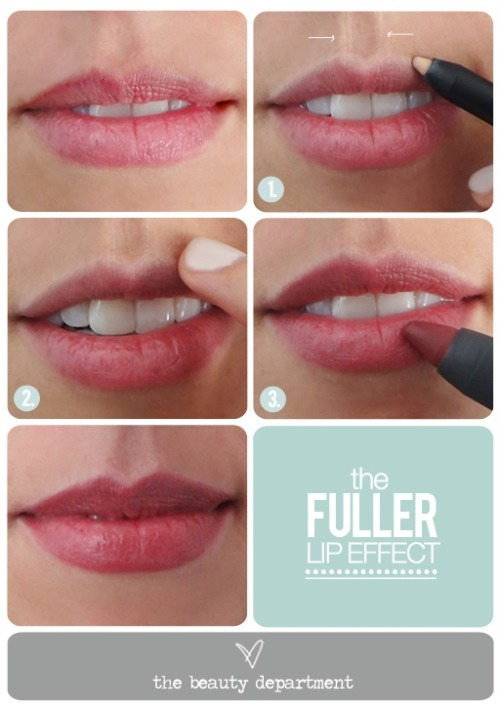 We get a lot of emails asking how to make thin lips look fuller. So today I'm happily sharing one of my biggest secrets as a makeup artist! This ten-second trick instantly but subtly makes any-sized lips appear fuller using a concept from Basic Art 101: you add dimension by playing with shadows light. If you want to bring a feature forward, you make it lighter, and if you want to push something back, you shade it darker. So to make the lips appear more voluminous, simply outline the top lip the philtrum (the two midline grooves that run from the top of the lip to the nose) to highlight it. It's a lot safer and less expensive than fillers and looks more natural. (via The Beauty Department: Your Daily Dose of Pretty. - BEAUTICIAN MAGICIAN: A VOLUMINOUS LIP ILLUSION)