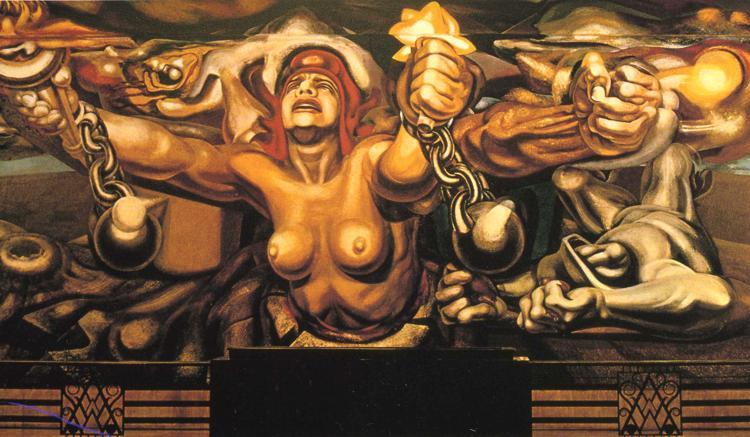 artsyrabbits:  View of a mural depicting Democracy breaking her chains   David Alfaro Siqueiros 1934