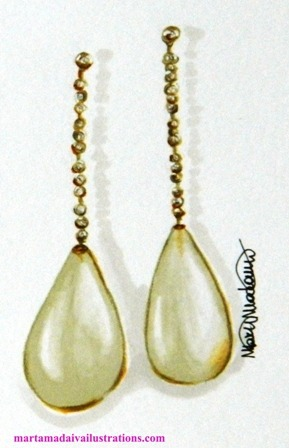 Davite & Delucchi pearl earrings by Marta Madaiva fashion illustrator