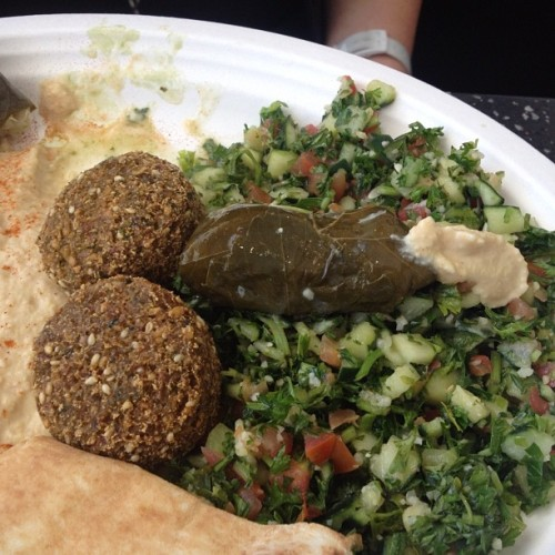 Fallafels + Dolmas + Hummus = #Foodporn #FoodPr0n by @JilltotheHecka (Taken with Instagram at The Amoura Employee Cafe)
