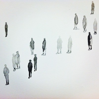 pausesbetweenthought:  Lovin' these tiny ink-wash people that artist + SFMOMA employee Tim Svenonius painted on our office's wall for the staff art show. There are hundreds of 'em wandering the blank whiteness of the hallway, reminding us to take our time and slow down.