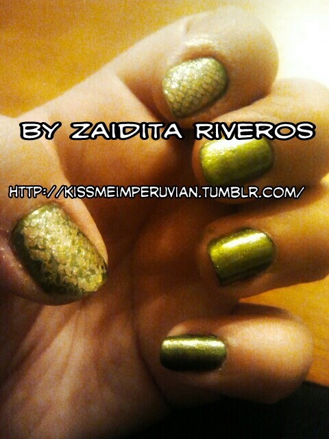 """Amazonian Snake"" Nails on myself By: Zaidita Riveros"