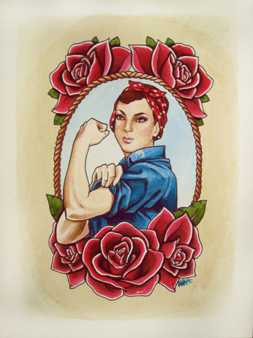 "nrrrdcakkke:  ""Rosie with Roses"" prints and iPhone cases now available on my RedBubble"