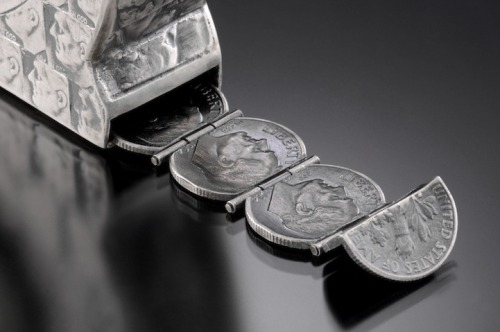 "designcloud:  Coin Sculptures by Stacey Webber 1. The Craftsmen Series, Silver Collection: Tape Measure Materials: nickel, silver, silver dimes, silver quarters L x H x W: 28"" x 3"" x 1"" Date: 2009 Photo Credit: Larry Sanders 2. The Craftsmen Series: Hammer Materials: pennies Description: hollow constructed pennies L x H x W: 4"" x 10"" x 12"" Date: 2008 Photo Credit: Tom McInvaille"