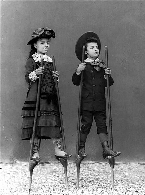 Edwardian Children on Stilts.