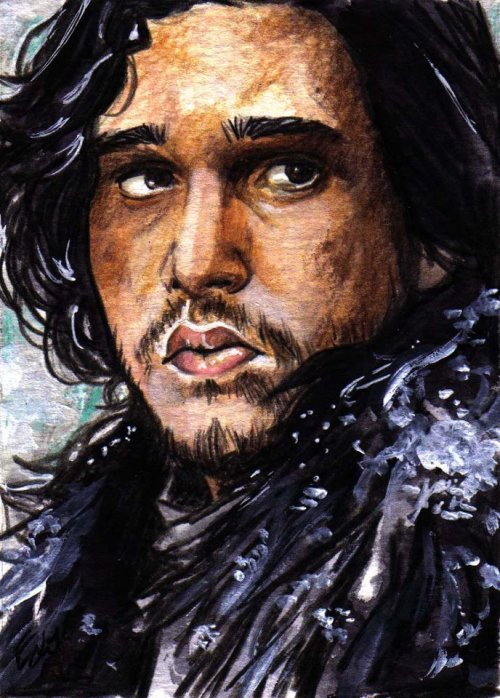 gameofthrones:  Sketch card 2.5+3.5, wmixed media on water color paper by Elfie Lebouleux