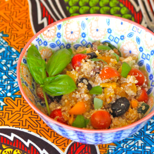 Mediterranean Quinoa Salad - Served warm or cool(cous cous subsititute) 1 cup quinoa 1/2 onion chopped to preference 1 clove chopped garlic 6 mushrooms sliced 1 zuchinni/yellow squash (cut into half circles) 1 red pepper chopped 1 cup kale or spinach 1 can garbanzo beans 2-3 tbsp black olives salt or bouillon cube to taste Soak quinoa for 5 minutes, then add to 1 and 1/2 cups water and bring to boil for 15 minutes with a tight lid. Turn off heat and let steam. While quinoa is cooking, sautee onions and garlic in deep pan. Once onions are clear, add mushroom. Then add the rest of the ingredients in order. Either add cooked quinoa at the end and mix thoroughlyor serve quinoa and put vegetable mixture on top. serve warm or cold.