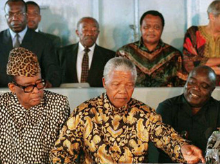 dreams-from-my-father:   South African President Nelson Mandela leads peace talks between Zairian President Mobutu Sese Seko, left, and rebel leader Laurent-Désiré Kabila, right, aboard the SAS Outeniqua in Pointe Noire harbour, Congo, May 4, 1997. In 1994, in Rwanda, a small nation that borders the DRC to the east, the governing-majority Hutus carried out a genocide of the minority Tutsi people rather than share power with them. When the Tutsis rose up and took over the government, massive numbers of Hutus fled into neighboring states, especially the DRC, rather than face reprisals. The Hutu leaders used the refugee camps as bases to strike against the Rwandan government, which contributed to an overall destabilization of the Congo. In 1997 Rwanda and Uganda supported Laurent-Désiré Kabila in overthrowing Mobutu, who supported the Hutus. This initiated the First Congo War. Kabila declared himself president and renamed Zaire the Democratic Republic of Congo. When Kabila attempted to limit Uganda and Rwanda's influence in the Congo, however, those countries withdrew their support from him and backed Congolese rebels in an attempt to overthrow him. Angola, Zimbabwe, and Namibia entered the fray on the side of Kabila, and in 1998, the Second Congo War began. It lasted five years and resulted in the death of four million people. The conflict is sometimes referred to as Africa's World War.  It is important to understand, remember and NEVER FORGET!