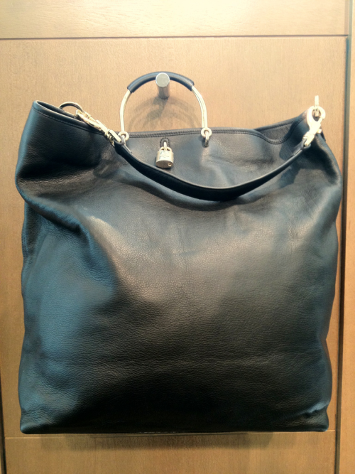 Huge Mulberry calfskin black bag with gold metal accents.
