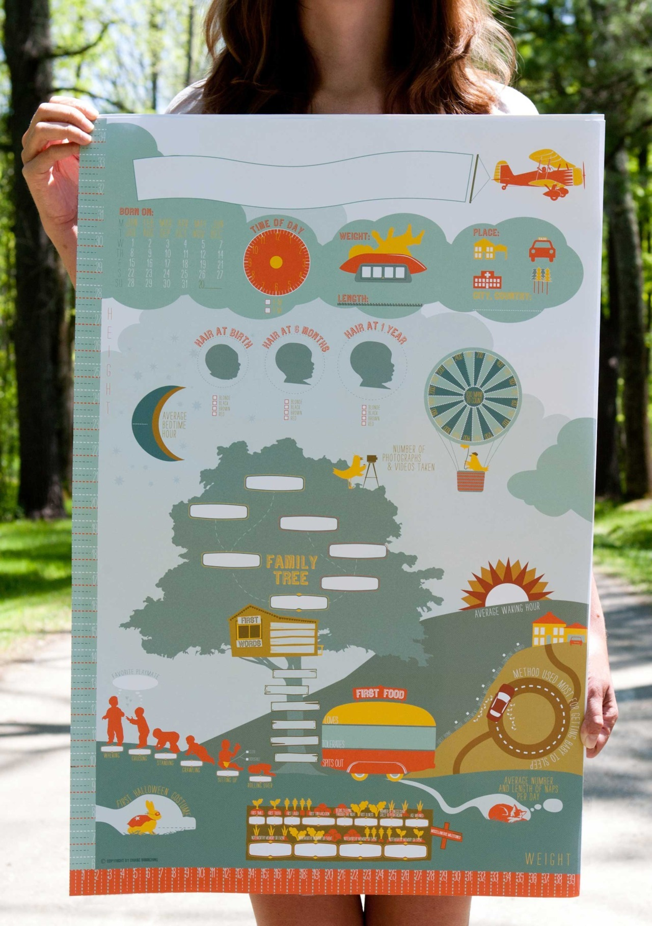 "Interactive infographic for the home The Milestones Poster, a 20x30"" interactive infographic for you to record all of your child's exciting development and display proudly on your wall. Like it? Kickstart it!"