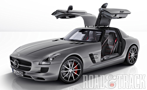 The 2013 Mercedes-Benz SLS AMG GT is a quicker, sharper handling, and certainly more expensive take on the exclusive Gullwing Coupe and Roadster. (Source: Road & Track)