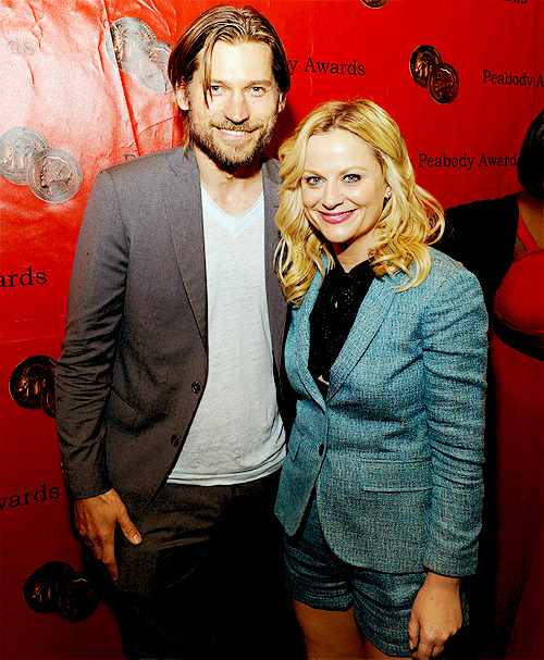 Amy Poehler and Nikolaj Coster-Waldau backstage at the Peabody Awards, May 21, 2012.