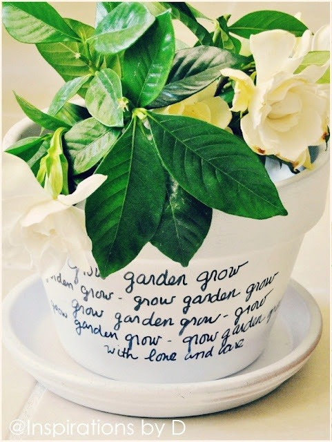 "truebluemeandyou:  DIY Message Flower Pot. Tutorial from Inspirations by D here. I posted something like this as inspiration (it was $30) that I saw on Swissmiss - ""I Will Survive"" was written on the pot here (I never forget a post).  I suggested that someone should write the lyrics on the pot with Stevie Wonder's lyrics from ""Secret Lives of Plants"" (Youtube here):  I can't conceive the nucleus of allBegins inside a tiny seedAnd what we think as insignificantProvides the purest air we breathe"