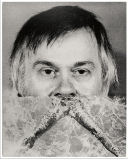 anneyhall:  John Baldessari with Legs Moustache, 1974. Photo by John Baldessari