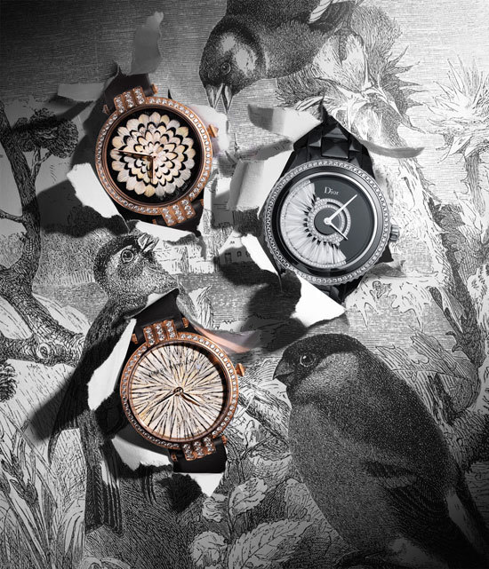 Feather-faced watches are replacing diamond encrusted ones this fall.  Well, not exactly but with these intricately designed mosaic faces by Harry Winston and Dior they should.  -JK [image via W]