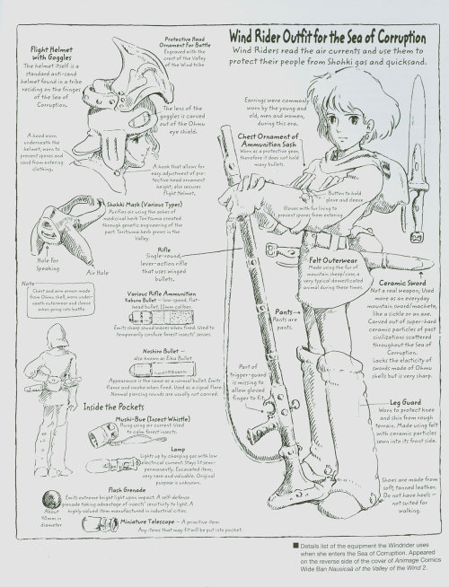 hellyeahnausicaa:  auburnleatherjackets:  Nausicaä's outfit blueprints, drawn by Hayao Miyazaki. See the full version [Here].    FINALLY AN ENGLISH VERSION!