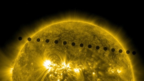 This image, snapped by NASA's Solar Dynamics Observatory, shows the path of the Venus transit. Venus crossed the northern hemisphere of the sun on June 5.  Any of you catch a glimpse of Venus yesterday?