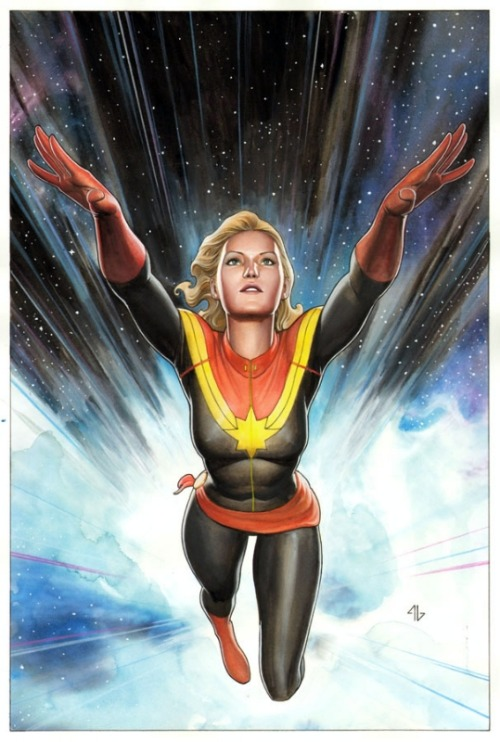 Captain Marvel #1 variant cover by Adi Granov.