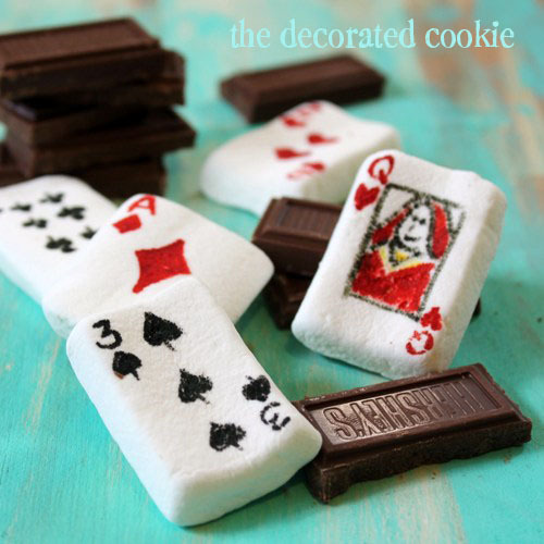 marshmallow playing cards.