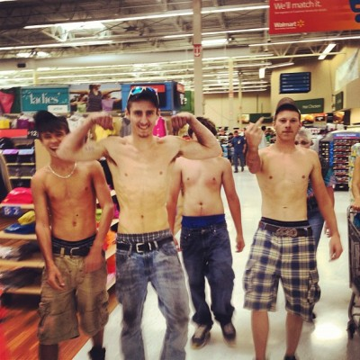 "theclearlydope:  WAL-MART is a Lawless Land: Via @caseyneistat : ""these shirtless animals were chasing girls around Wal Mart. they called me a 'fuckin yankee'"" This Wal-Mart needs a hero.   May be union lol"