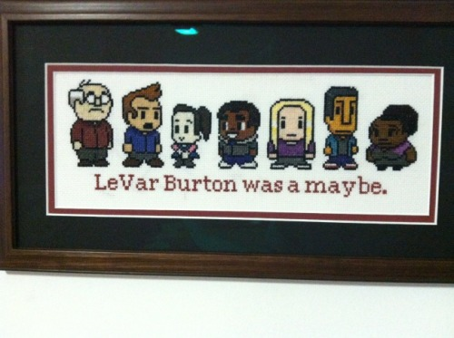 jedishywalker:  Here's a cross stitch I did based on Community! All of the sprites— unfortunately, LeVar Burton wasn't able to make it…