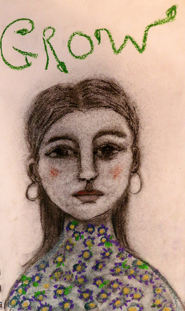 Grow - charcoal, pastel and sketching crayon by Lisa Graham Art on Flickr. by @LisaGrahamArt