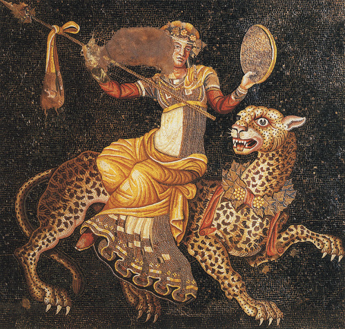 tagaoth:  Dionysus riding a panther ~ Greek mosaic  So this is just bad ass.