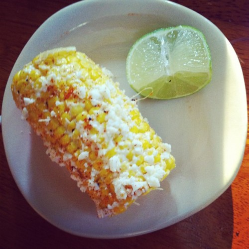 Hubby made Mexican-style street corn with Cotija cheese inspired by @LaCondesa #icame4thecorn (Taken with instagram)
